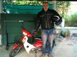 Image of Chris just returning his ride near Chiang Mai