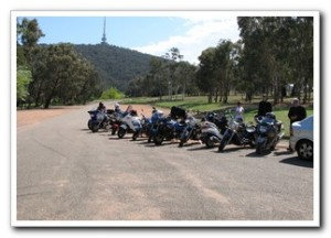 Motorcycles parked at Black Mountain, Canberra, Australia for the opening of Motorcycle awareness week 11 Oct 2008