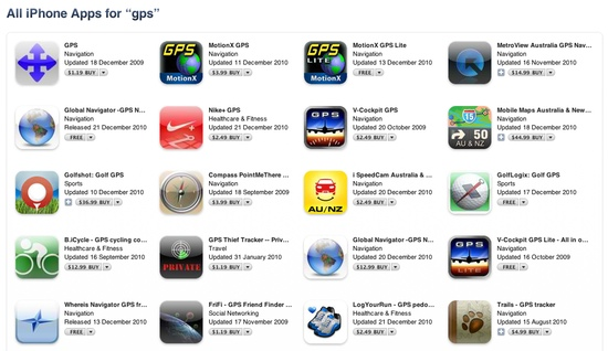 Image of the GPS Apps in iTunes Store