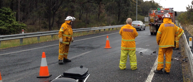The Bargo Rural Fire Service team at the motorcycle accident
